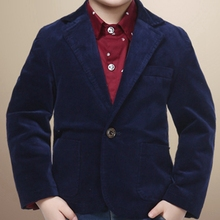 High quality boy blazer with fleece fabric cotton 80% solid dark blue