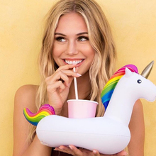 1Pc Inflatable Unicorn Cup Holder Floating Can Stand Swimming Party Beverage Boats Party Supplies(China)