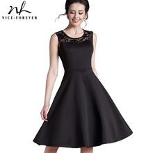 Nice-forever New Elegant Ladylike Stylish Lace Charming Sexy Women O Neck Sleeveless Vintage Ball Gown Little Black Dress A008(China)