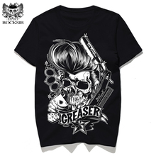 ROCKSIR 2017 New Rock Greaser Men's T-shirt fashion skull printed male tops hot Casual short sleeve shirts homme tee street wear(China)