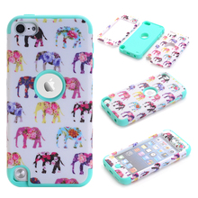 3-in-1 Case For Apple iPod Touch 5 Hard&Soft Silicone Hybrid Armor Elephants Case Cover Shell w/Screen Portector Film+Stylus Pen