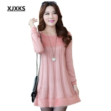 XJXKS New 2017 Women's Autumn And Winter Plus Size Loose Mohair Long Sweater Fashion Knitwear Dress Bottoming Pullover(China)