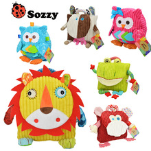 Sozzy School Bags Kids Doll Plush Toy Children Shoulder Bag for Kindergarten Owl Cattle Frog Monkey Lion Plush Backpack