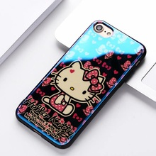 Luxury soft Silicone cute Hello kitty Xiongben Case for iPhone 6 6sPlus 7 7 plus beauty Blue Light Ray Phone Back cover brand(China)