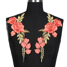1 Pc New Fashion Flower Red Rose Blossom Collar Sew on Patches Applique Badge Embroidery For Cheongsam Clothes Dress