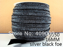 50Y9950 kerryribbon free shipping 5/8 '' silver black  foe Ribbon  hairbow diy party decoration