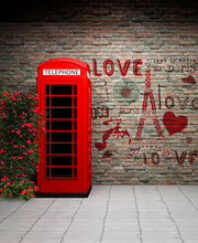 Phone Booth Brick Wall Vinyl Photography Backdrop Custom Photo Prop Backgrounds 5X7ft for Wedding