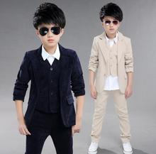 Cardigan Boys Sets Autumn New Arrival Kids Suit Solid Color Boy's Formal Wear Kinderkleding Jongens Coat And Pants Three - piece