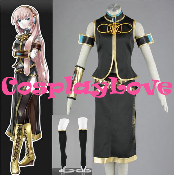High Quality Stock Japanese Anime Vocaloid Black Luka Megurine Cosplay Costume For Halloween Custom Made Christmas Size(XXS-3XL)