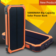 Buy two 10% off Solar Power Bank Dual USB Powerbank 50000mAh External Battery Bateria Externa Pack for Mobile phone