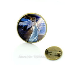 Christmas gift Angel Wishing brooches pins jewelry Light of hope Glass cabochon dome Handmade for Unisex Ornaments C73(China)