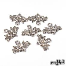 10pcs Tibetan Style Antique Silver Chandelier Pendants Charm Flower Connectors for Jewelry Making 32x23x3mm(China)