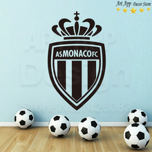 Good quality Monaco football logo wall sticker house decor new Art Design Vinyl soccer club decals removable cheap room paster