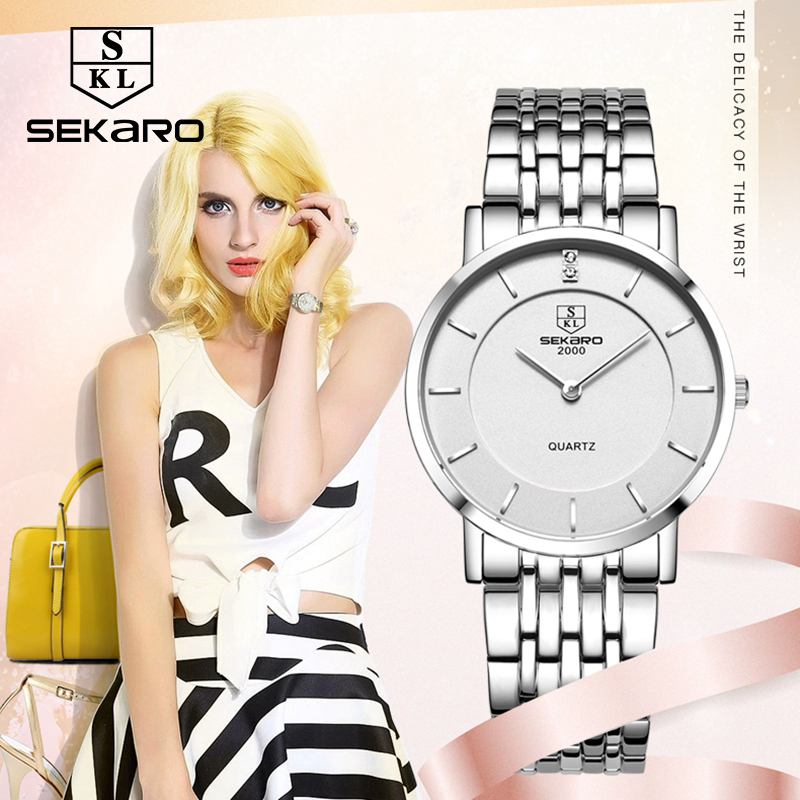 SEKARO Business Luxury Women Watches Steel Waterproof Watch Woman Quartz Wristwatches Lovers Watch Relogio Feminino For Gift<br>