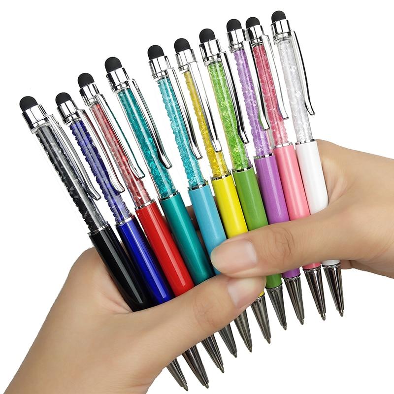 Crystal Pen Diamond Ballpoint Pens Stationery Ballpen Stylus Gift Pen Colors