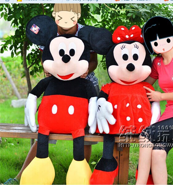 a pair of huge plush toy mickey mouse toys doll large birthday gift  the boy mickey and red coat girl minny dolls about 130cm<br><br>Aliexpress