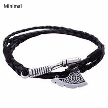 Minimal New Arrival Punk Axe Wrap Anchor Bracelet Black Woven Leather Bangle Slavic Perun Wicca Amulet for Man/woman Jewelry