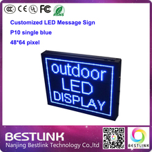 p10 single blue outdoor led sign board for text taxi top advertising 48*64 pixel outdoor door sign led display screen billboard