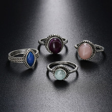 4Pcs Bohemia Ring Set Vintage Ethnic Beach Antique Ancient Sliver Color Stone Midi Knuckle Ring Women Jewelry wedding Gifts