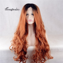 Strongbeauty Long Body Wave Strawberry Blonde Wig Synthetic Ombre Black to Copper Lace Front Wig for Black Women(China)