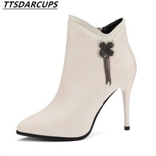 TTSDARCUPS Trendy high heel short boots Night shop sexy Martin boots Thin and thin heel Rhinestone Women's Boots(China)