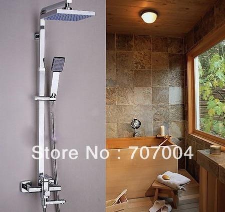 Modern Wall Mount Shower Faucet Mixer Tap w/ Rain Shower Head &amp; Handheld Shower (chrome finish)<br><br>Aliexpress