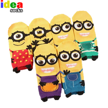 new year women 3d print cartoon Minion short socks despicable me brand striped cotton cute funny female socks ankle low cut sox