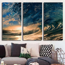 Modern Home Wall Decor Canvas Picture Art HD Print 3 Pieces Tropical Paradise Ocean Sea Wave Painting On Canvas For Living Room