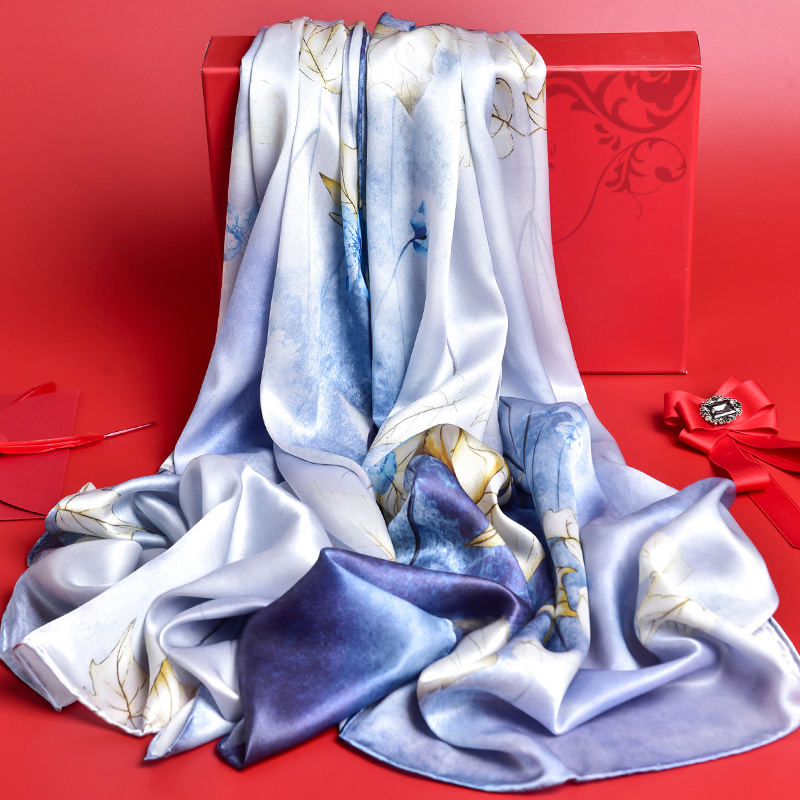 2019 Pure Silk Shawls and Wraps for 100% Real Silk Scarves Ladies Women Printed Bandana Silk Scarves Natural Long Scarf
