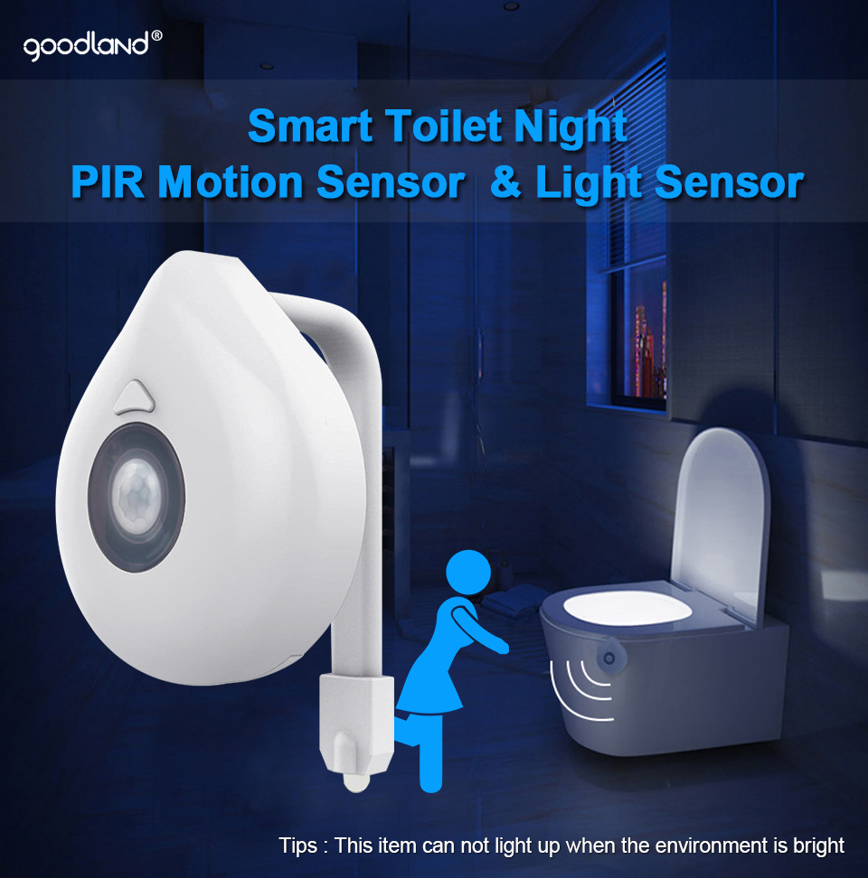 Indoors - LED Toilet Seat Night Light Motion Sensor WC Light 8 Colors