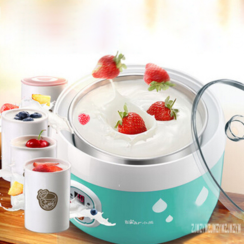 New Arrival SNJ-560 yogurt machine home automatic 1L stainless steel liner natto machine  4 * 125ml ceramic sub-cup 220V 20W Hot<br>