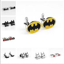 2017 New Movie The avengers Batman superman Cufflinks Bat shape red orange black colour Men Cufflink jewelry Accessories