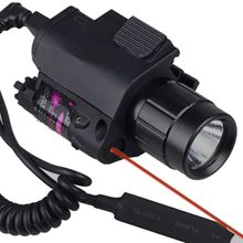 CREE LED 2in1 Tactical Combo For Shotgun Glock 17 19 22 20 23 31 37 Flashlight/LIGHT+Red Laser/Sight