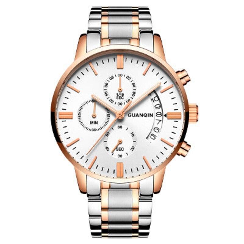 2017 new Luxury Sport Watch Top Brand GuanQin Quartz Watch Men Watches Waterproof Calendar Luminous Stopwatch with full Steel<br>