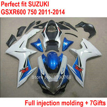 ABS plastic fairings for Suzuki GSXR 600 750 11 12 13 14 blue white black injection fairing kit GSXR600 GSXR750 2011-2014 XX-32