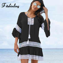 Buy Fitshinling Lace patchwork boho summer dress line sexy hot short beach party dresses women flare sleeve sexy swimwear outputs for $13.99 in AliExpress store