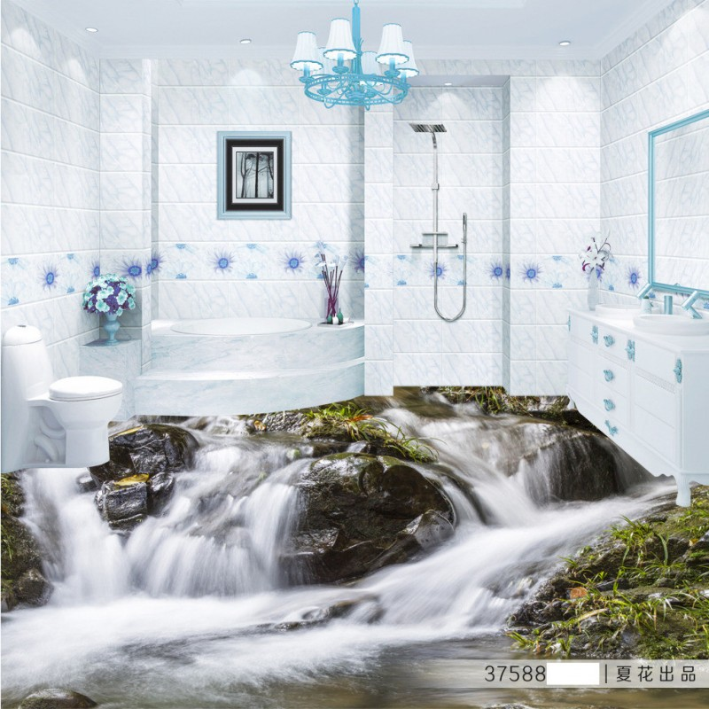 Free Shipping 3D waves sea water flooring mural non-slip self-adhesive floor sticker bathroom kitchen floor wallpaper<br>