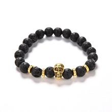 1 Pc Fashion Unisex Lava Rock 8mm Bead Bracelet Natural Stone Golden Skull Beaded Bracelets Best Gifts(China)