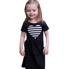 Baby Girl Dress Summer Style Plaid Stripe Heart Kids Dresses For Girls Clothes Outfits 2017 Fashion Black Children Party Dresses(China)