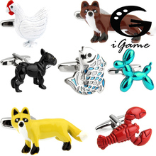 Free Shipping New Arrival Animal Cufflinks Novelty Black Dog Fox Fish Hen Bear Design Gift For Men Cuff Links Wholesale&retail