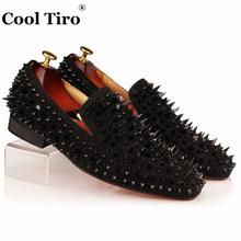 COOL TIRO Black Spikes Rhinestones Glitter Men Loafers Smoking Slipper Casual Shoes Wedding Dress Men's Flats Genuine Leather(China)