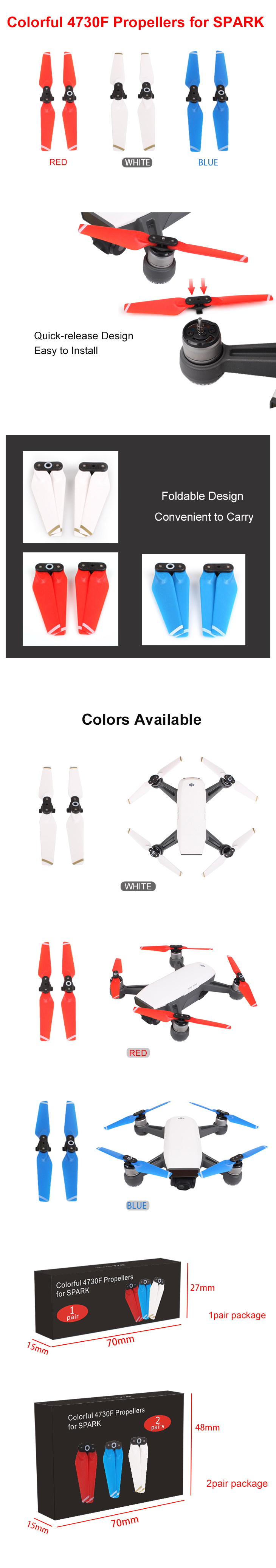 For Spark 2 Pairs/set Colorful 4370F Propellers Quick-release Folding Screw Propellers Blades For DJI Spark Accessories