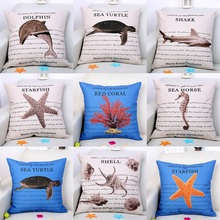 Dolphin Starfish Shark Sea Turtle Cushion Cover 45X45cm Marine Biology Pillow Cases Linen Cotton Bedroom Sofa Decoration
