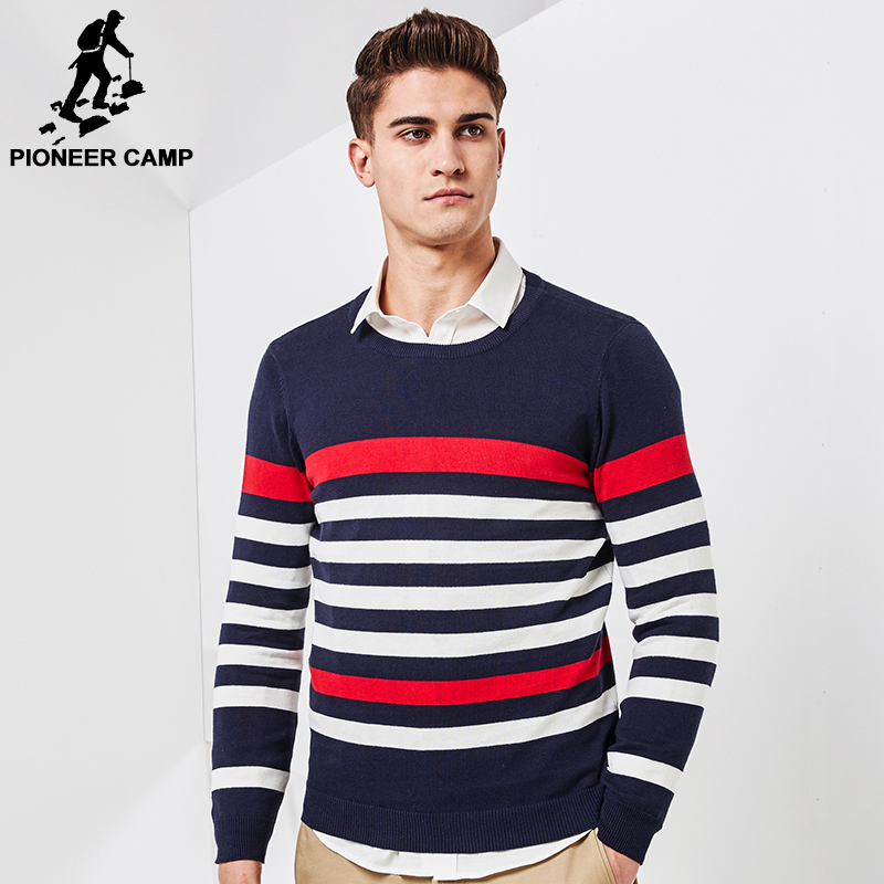 Pioneer Camp 2017 New Spring thin sweater men brand clothing fashion men pullover quality striped knitted sweater male AMS705013(China (Mainland))