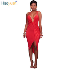 Buy HAOYUAN Backless Shoulder Bandage Sexy Dress Club Night Bodycon Midi Summer Dress 2018 Tight Wrap Women Party Dresses for $11.99 in AliExpress store