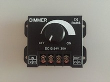 30A DC 12V-24V LED Dimmer Adjustable Brightness Controller For Single Color 5050 3528 Strip Light