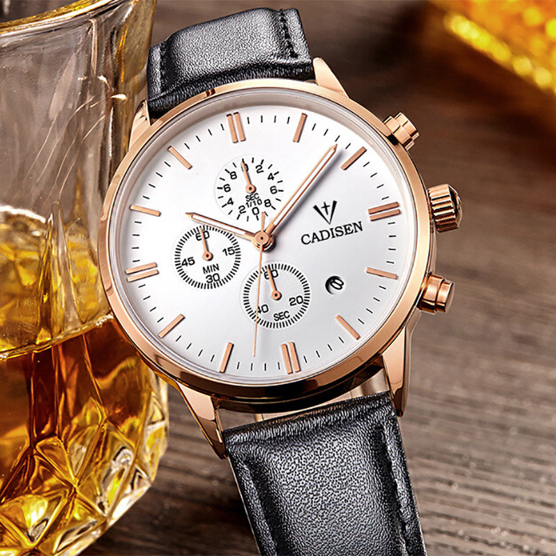 CADISEN Top Brand Watch Men Watch Fashion Sport Watches Leather Quartz Watch Men Hour Montre Homme Relogio Masculin<br>