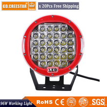 9inch 96W led work light 96w Round led off road Driving lights Red lamps for SUV bumper Car Truck Round 96W led lights Wholesale
