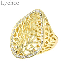 Lychee Punk Rock Gothic Hollow Out Tree Of Life Ring Gold Color Finger Ring Hope Faith Jewelry for Men Women