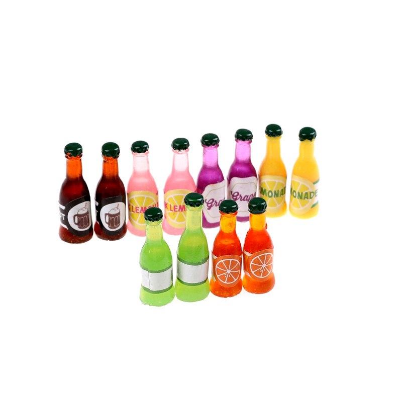 2Pcs 1:12 dollhouse miniature prop BJD resin beverage bottle soda beverage LF